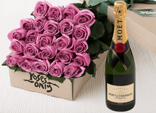 24 Mauve Roses Gift Box & Champagne