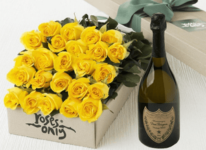 24 Yellow Roses Gift Box & Champagne