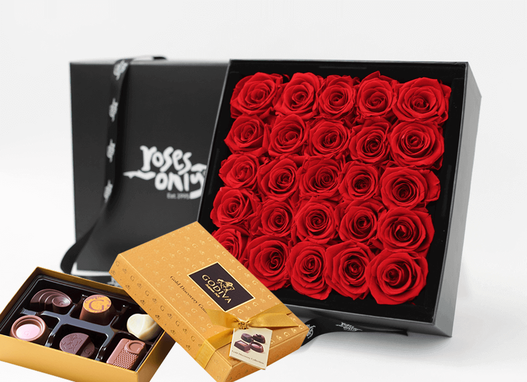 Mother's Day 25 stunning red infinity roses, beautifully presented in a black box & Gold Godiva Chocolates
