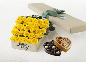 30 Yellow Roses Gift Box & Chocolates