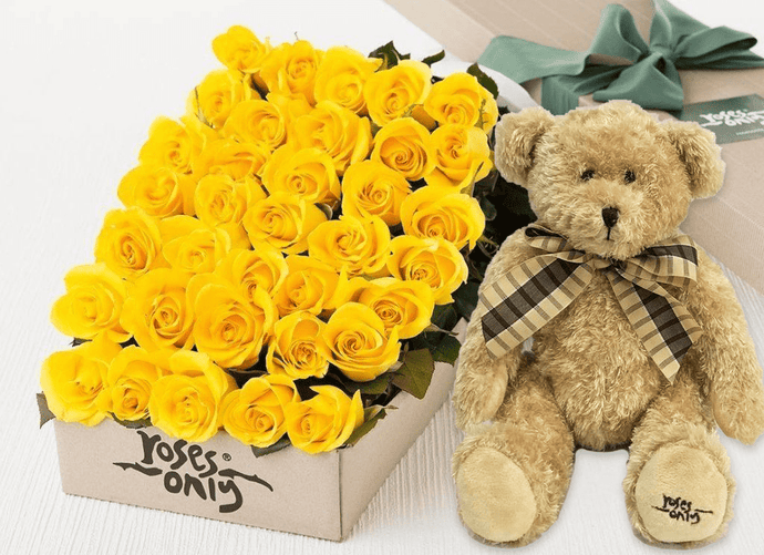 36 Yellow Roses Gift Box & Teddy Bear