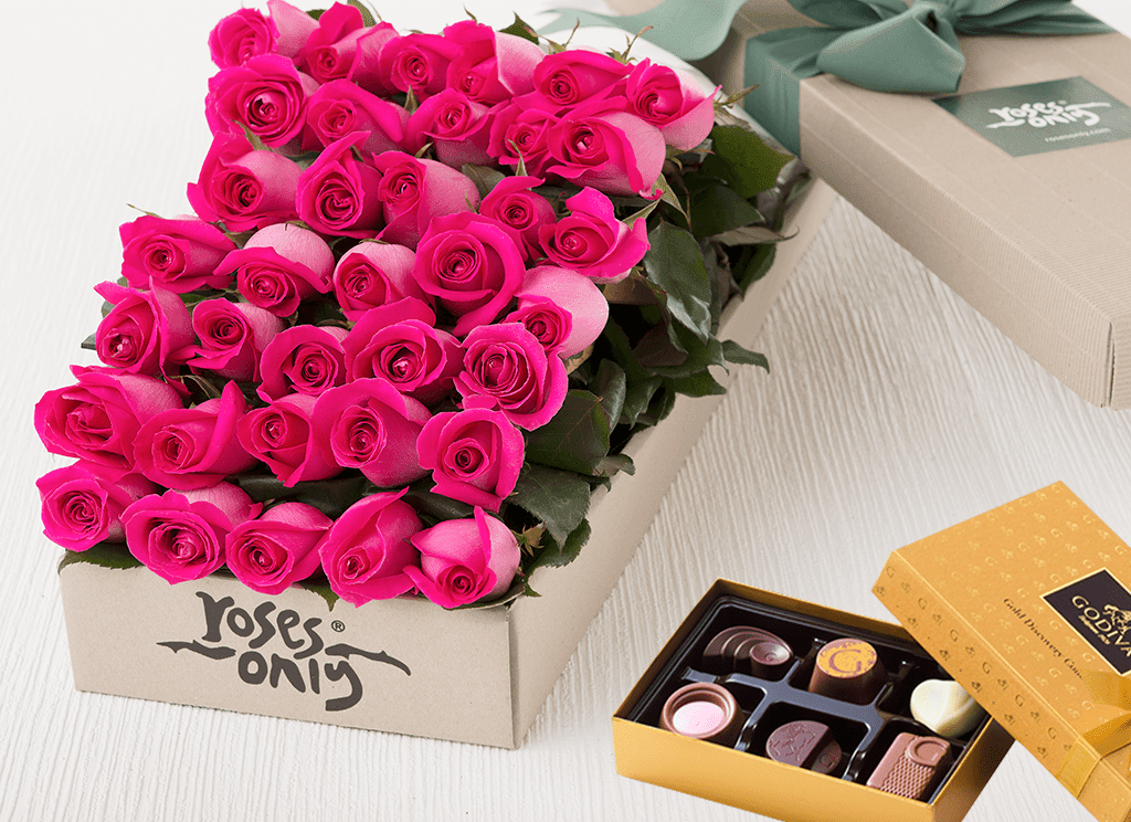 36 Bright Pink Roses Gift Box & Chocolates