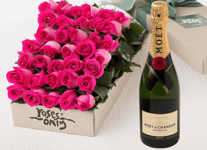 36 Bright Pink Roses Gift Box & Champagne
