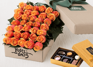 36 Cherry Brandy Roses Gift Box & Chocolates