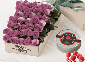Mother's Day 36 Mauve Roses Gift Box & Chocolates