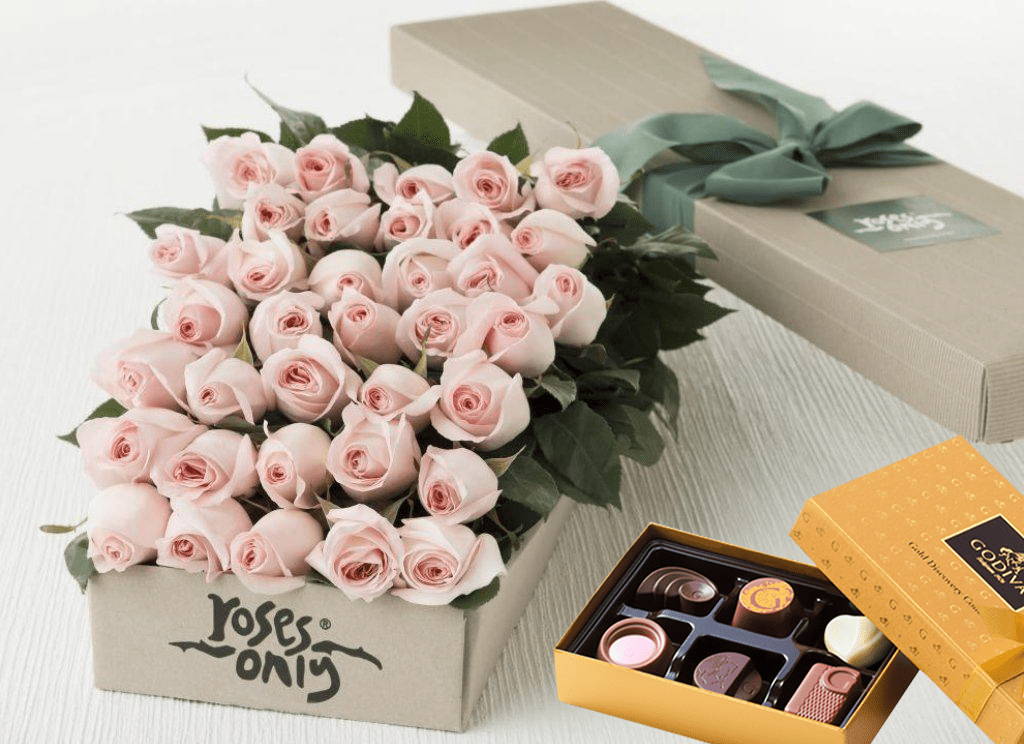 Pastel Pink Roses Gift Box 36 &  Chocolates