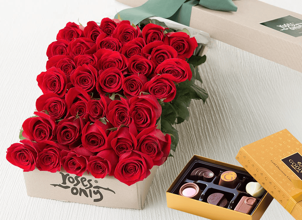 36 Red Roses Gift Box & Chocolates
