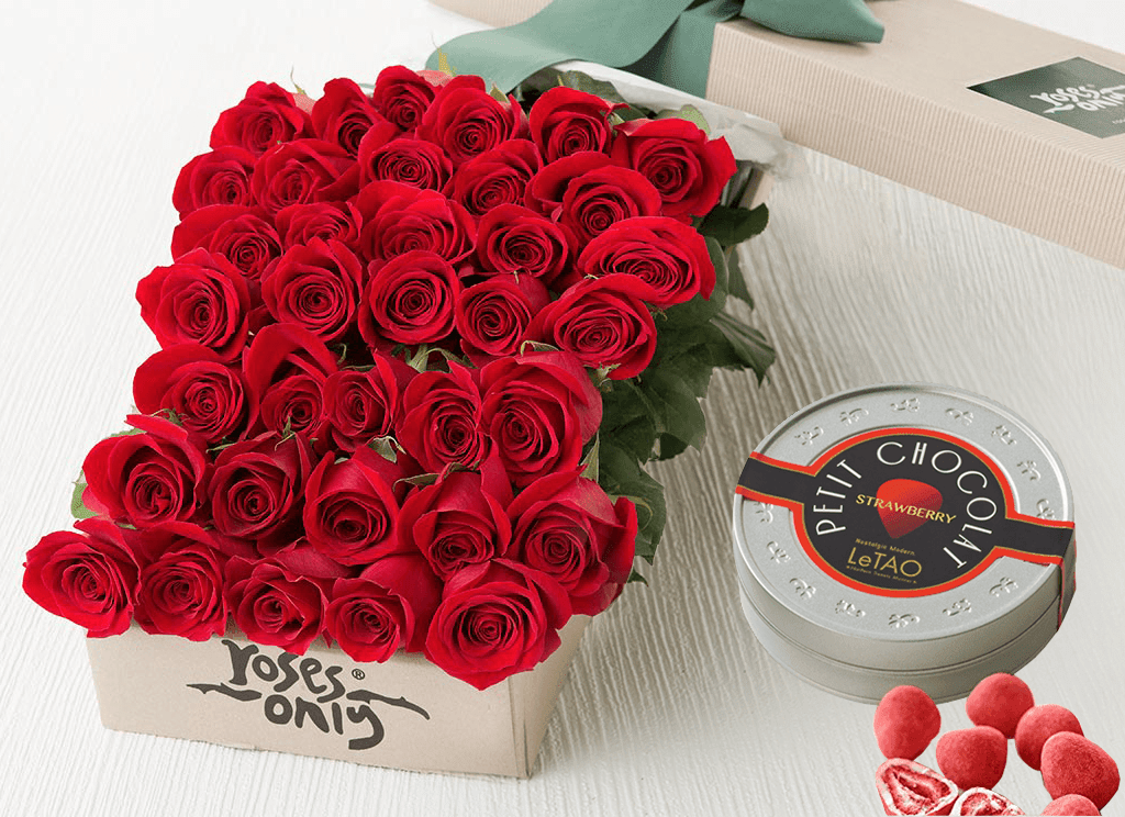 36 RED ROSES GIFT BOX &  LETAO PETIT CHOCOLATE