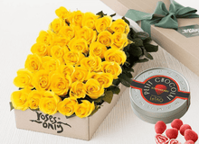 36 Yellow Roses Gift Box & Chocolates