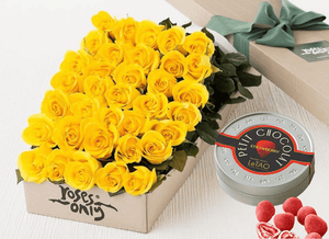 Mother's Day 36 Yellow Roses Gift Box & Chocolates