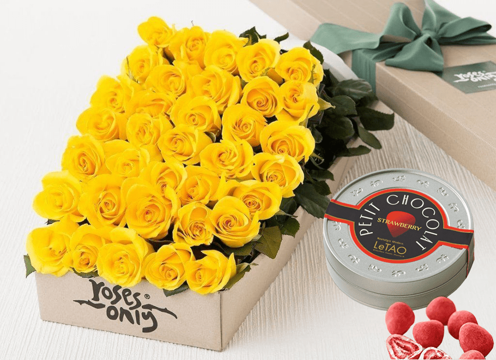 36 Yellow Roses Gift Box & Letao Petit Chocolates