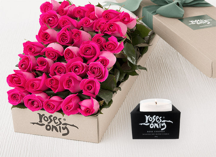36 Bright Pink Roses Gift Box & Scented Candle