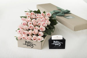 36 Pastel Pink Roses Gift Box & Scented Candle