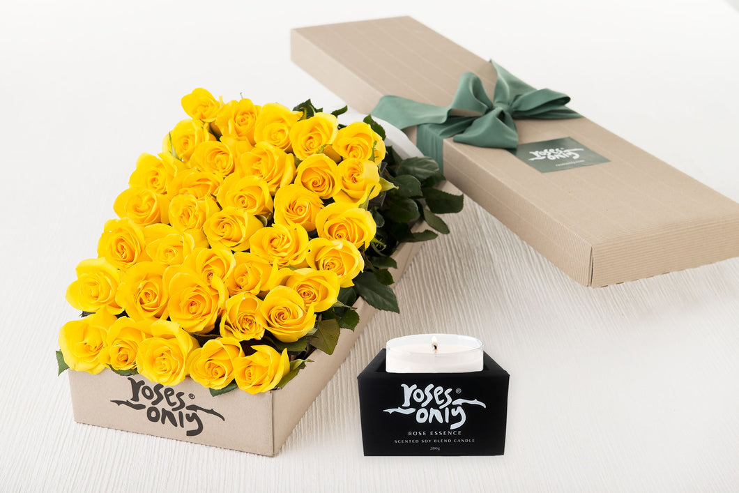 36 Yellow Roses Gift Box & Scented Candle