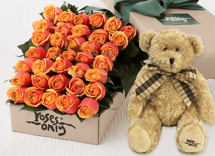 36 Cherry Brandy Roses Gift Box & Teddy Bear
