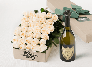 36 White Cream Roses Gift Box & Champagne