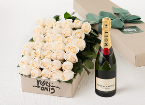White Cream Roses Gift Box 36 & Champagne