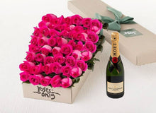 Bright Pink Roses Gift Box 50 & Champagne