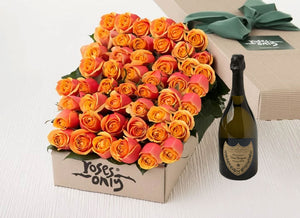 Cherry Brandy Roses Gift Box 50 & Champagne