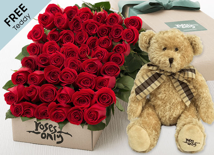 50 Red Valentines Roses + FREE Teddy