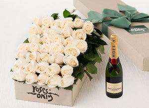 White Cream Roses Gift Box 50 & Champagne
