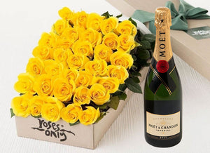 Yellow Roses Gift Box 50 & Champagne