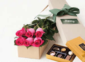 6 Bright Pink Roses Gift Box & Chocolates