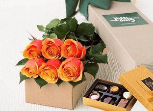 6 Cherry Brandy Roses Gift Box & Chocolates