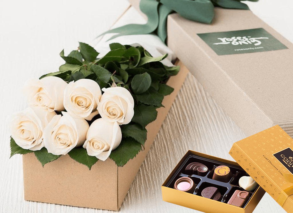 6 White Cream Roses Gift Box & Chocolates