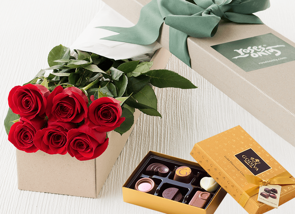 6 Red Roses Gift Box & Chocolates