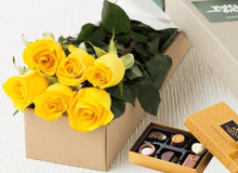 6 Yellow Roses Gift Box & Chocolates