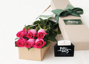6 Bright Pink Roses Gift Box & Scented Candle