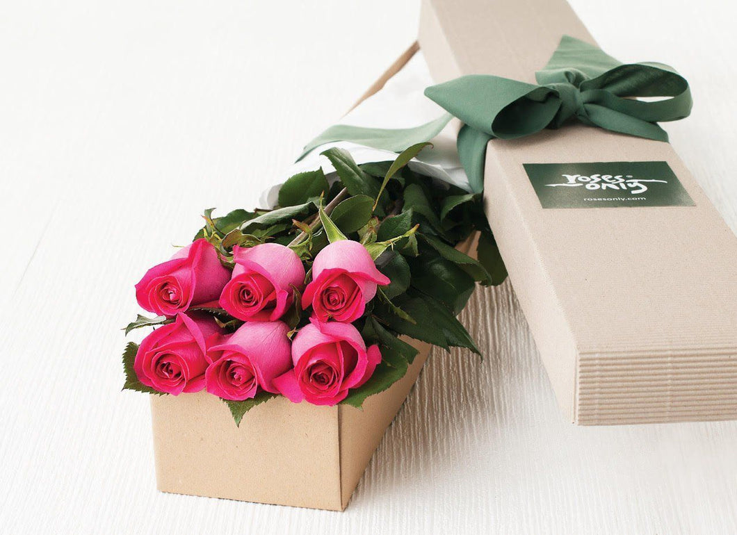 Mother's Day 6 Bright Pink Roses Gift Box