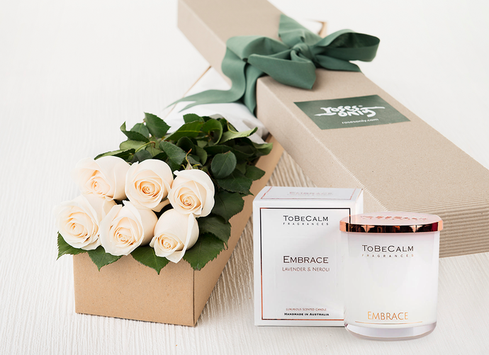 6 White Cream Roses Gift Box & Scented Candle