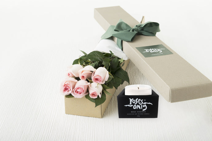 6 Pastel Pink Roses Gift Box & Scented Candle