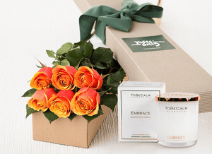6 Cherry Brandy Roses Gift Box & Scented Candle