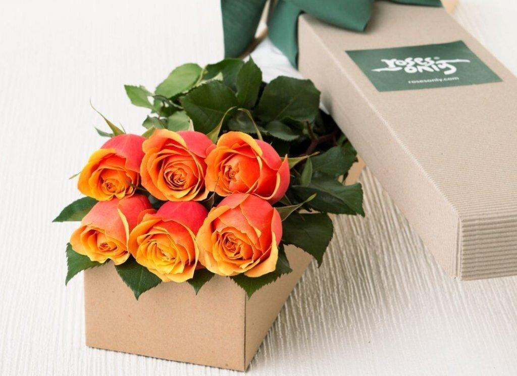 6 Cherry Brandy Roses Gift Box