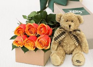 6 Cherry Brandy Roses Gift Box & Teddy Bear