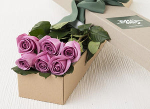 Mother's Day 6 Mauve Roses Gift Box