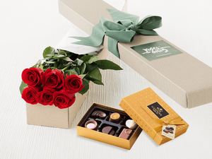 6 Valentines Roses & 6 pc Godiva Chocolates
