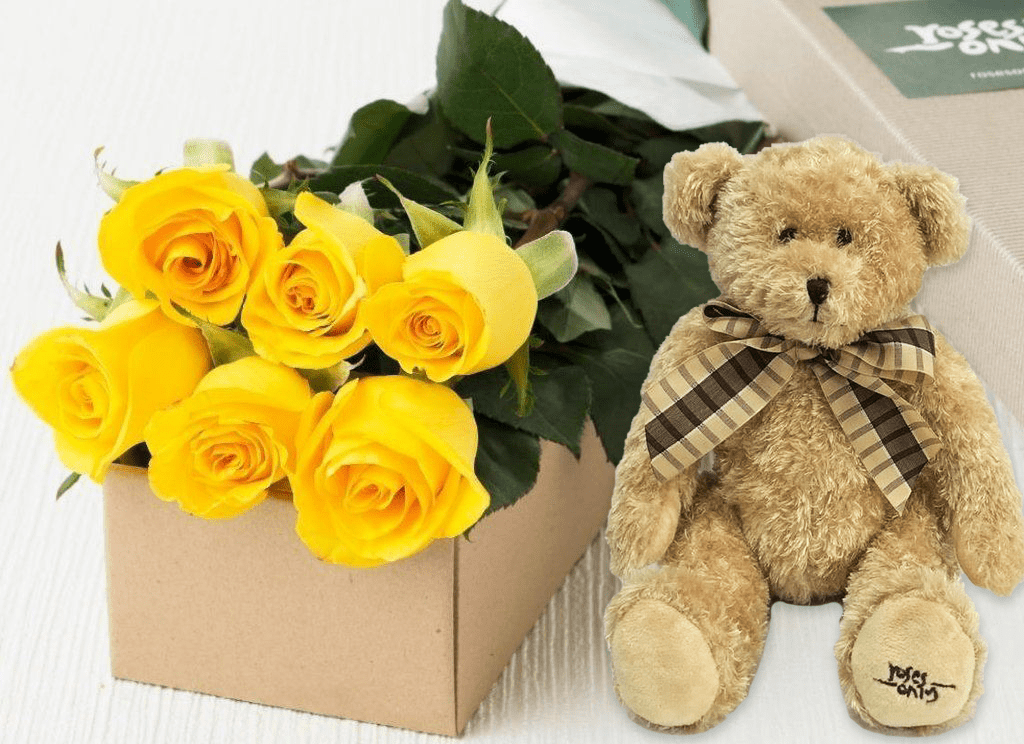 6 Yellow Roses Gift Box & Teddy Bear