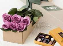 6 Mauve Roses Gift Box & Chocolates