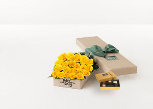 Yellow Roses Gift Box 21 & Chocolates