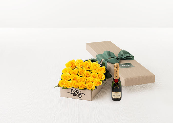 Yellow Roses Gift Box 21 & Champagne