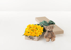 21 Yellow Roses Gift Box & Teddy Bear