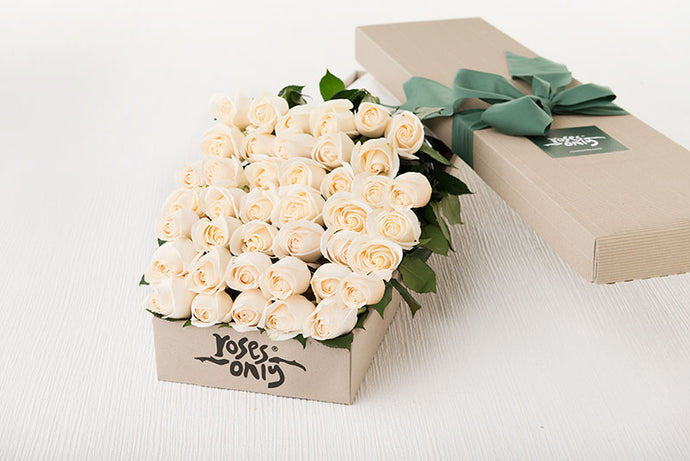 40 White Cream Roses Gift Box