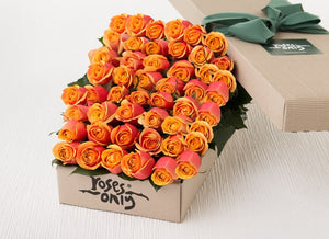 50 Cherry Brandy Roses Gift Box