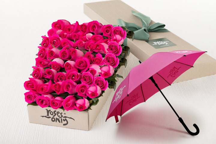 Bright Pink Roses Gift Box & Pink Umbrella