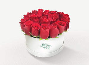 36 Red Roses in a Hat Box