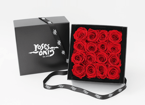 16 stunning red infinity roses, beautifully presented in a black box